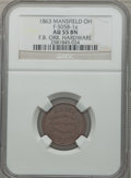 Civil War Merchants, 1863 F.B. Orr, Hardware, Mansfield, OH, AU55 NGC. Fuld-OH505B-7a.Incorrectly attributed by NGC as Fuld-OH505B-1a....