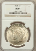 Peace Dollars: , 1923 $1 MS64 NGC. NGC Census: (131477/37210). PCGS Population(75188/16751). Mintage: 30,800,000. Numismedia Wsl. Price for...
