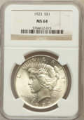 Peace Dollars: , 1923 $1 MS64 NGC. NGC Census: (132402/37579). PCGS Population(75772/16916). Mintage: 30,800,000. Numismedia Wsl. Price for...