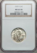 Standing Liberty Quarters: , 1929-S 25C MS63 Full Head NGC. NGC Census: (54/405). PCGSPopulation (100/480). Mintage: 1,764,000. Numismedia Wsl. Pricef...