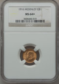 Commemorative Gold: , 1916 G$1 McKinley MS64+ NGC. NGC Census: (767/883). PCGS Population(1379/1646). Mintage: 9,977. Numismedia Wsl. Price for ...