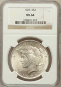 Peace Dollars: , 1923 $1 MS64 NGC. NGC Census: (132355/37552). PCGS Population(75772/16916). Mintage: 30,800,000. Numismedia Wsl. Price for...