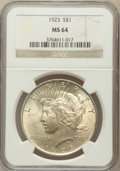 Peace Dollars: , 1923 $1 MS64 NGC. NGC Census: (131599/37254). PCGS Population(75353/16788). Mintage: 30,800,000. Numismedia Wsl. Price for...