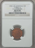 Civil War Merchants, (1861-65) E.S. Barrows, Janesville, WI, MS64 Red and Brown NGC.Fuld-WI300A-1a....