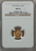 Gold Dollars: , 1873 G$1 Open 3 MS63 NGC. NGC Census: (353/273). PCGS Population(403/256). Mintage: 123,300. Numismedia Wsl. Price for pro...