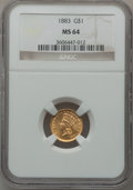 Gold Dollars: , 1883 G$1 MS64 NGC. NGC Census: (85/174). PCGS Population (125/283).Mintage: 10,800. Numismedia Wsl. Price for problem free...