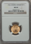 Commemorative Gold: , 1926 $2 1/2 Sesquicentennial MS64 NGC. NGC Census: (2863/1210).PCGS Population (4304/2081). Mintage: 46,019. Numismedia Ws...