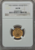 Commemorative Gold: , 1926 $2 1/2 Sesquicentennial AU58 NGC. NGC Census: (347/7094). PCGSPopulation (633/10463). Mintage: 46,019. Numismedia Wsl...