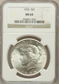 Peace Dollars: , 1925 $1 MS64 NGC. NGC Census: (20684/11723). PCGS Population(16903/8485). Mintage: 10,198,000. Numismedia Wsl. Price for p...