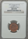 Civil War Merchants, 1863 J. Mikesell & Bro., Charlotte, MI, MS63 Red and Brown NGC.Fuld-MI160C-1a....