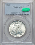 Walking Liberty Half Dollars: , 1943 50C MS67 PCGS. CAC. PCGS Population (357/6). NGC Census:(519/15). Mintage: 53,190,000. Numismedia Wsl. Price for prob...