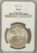 Morgan Dollars: , 1881-S $1 MS66 NGC. NGC Census: (16228/4212). PCGS Population(12071/1692). Mintage: 12,760,000. Numismedia Wsl. Price for ...