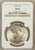Peace Dollars: , 1925 $1 MS64 NGC. NGC Census: (20692/11804). PCGS Population(16801/8429). Mintage: 10,198,000. Numismedia Wsl. Price for p...