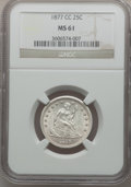 Seated Quarters: , 1877-CC 25C MS61 NGC. NGC Census: (20/293). PCGS Population(17/337). Mintage: 4,192,000. Numismedia Wsl. Price for problem...
