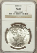 Peace Dollars: , 1922 $1 MS64 NGC. NGC Census: (79009/15805). PCGS Population(41301/6360). Mintage: 51,737,000. Numismedia Wsl. Price for p...