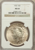 Peace Dollars: , 1923 $1 MS64 NGC. NGC Census: (131997/37415). PCGS Population(75563/16851). Mintage: 30,800,000. Numismedia Wsl. Price for...