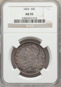 Bust Half Dollars: , 1824 50C AU55 NGC. NGC Census: (105/421). PCGS Population(125/284). Mintage: 3,504,954. Numismedia Wsl. Price for problem...