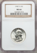 Washington Quarters: , 1942-S 25C MS66 NGC. NGC Census: (260/61). PCGS Population(231/33). Mintage: 19,384,000. Numismedia Wsl. Price for problem...