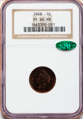 Proof Indian Cents: , 1908 1C PR64 Red and Brown NGC. CAC. NGC Census: (52/83). PCGSPopulation (112/67). Mintage: 1,620. Numismedia Wsl. Price f...