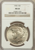 Peace Dollars: , 1925 $1 MS64 NGC. NGC Census: (20807/11814). PCGS Population(16984/8537). Mintage: 10,198,000. Numismedia Wsl. Price for p...