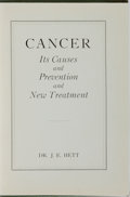 Books:Medicine, Dr. J. E. Hett. Cancer. [Canada: 1943]. Unknown edition.Publisher's binding. Some wear to binding, ownership si...