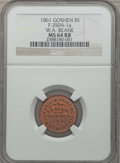 Civil War Merchants, 1861 W.A. Beane, Goshen, IN, MS64 Red and Brown NGC.Fuld-IN350A-1a....