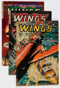 Golden Age (1938-1955):War, Wings Comics #80, 114, and 123 Group (Fiction House, 1947-54)....(Total: 3 Comic Books)