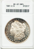 Morgan Dollars: , 1881-O $1 MS63 Deep Mirror Prooflike ANACS. NGC Census: (217/133).PCGS Population (356/422). Numismedia Wsl. Price for pr...