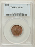 Indian Cents: , 1881 1C MS64 Brown PCGS. PCGS Population (53/12). NGC Census:(85/34). Mintage: 39,211,576. Numismedia Wsl. Price for probl...