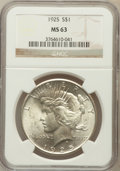 Peace Dollars: , 1925 $1 MS63 NGC. NGC Census: (9903/32496). PCGS Population(10188/25230). Mintage: 10,198,000. Numismedia Wsl. Price for p...