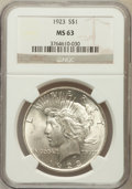 Peace Dollars: , 1923 $1 MS63 NGC. NGC Census: (82266/168853). PCGS Population(70205/92141). Mintage: 30,800,000. Numismedia Wsl. Price for...