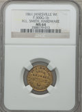 Civil War Merchants, 1861 H.L. Smith, Hardware, Janesville, WI, MS64 NGC.Fuld-WI300G-1b....