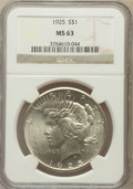 Peace Dollars: , 1925 $1 MS63 NGC. NGC Census: (9988/32391). PCGS Population(10264/25370). Mintage: 10,198,000. Numismedia Wsl. Price for p...