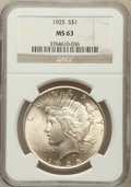Peace Dollars: , 1925 $1 MS63 NGC. NGC Census: (9942/32447). PCGS Population(10209/25269). Mintage: 10,198,000. Numismedia Wsl. Price for p...