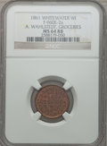 Civil War Merchants, 1861 A. Wahlstedt, Groceries, Whitewater, WI., MS64 Red and BrownNGC. Fuld-WI960E-2a....
