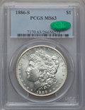 Morgan Dollars: , 1886-S $1 MS63 PCGS. CAC. PCGS Population (1707/1531). NGC Census:(946/845). Mintage: 750,000. Numismedia Wsl. Price for p...