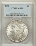 Morgan Dollars: , 1891 $1 MS63 PCGS. PCGS Population (2895/1826). NGC Census:(2188/1274). Mintage: 8,694,206. Numismedia Wsl. Price for prob...