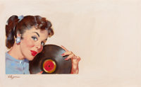 GIL ELVGREN (American, 1914-1980) Strictly Off the Record, advertising illustration Oil on board