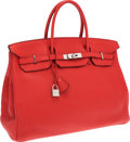Luxury Accessories:Bags, Hermes 40cm Bougainvillea Clemence Leather Birkin Bag withPalladium Hardware. ...