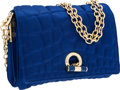 Luxury Accessories:Bags, Yves Saint Laurent Blue Satin Pressed Crocodile Crossbody Bag withChain Shoulder Strap. ...