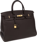 Luxury Accessories:Bags, Hermes 40cm Ebene Clemence Leather Birkin Bag with Gold Hardware. ...