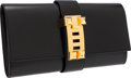 Luxury Accessories:Bags, Hermes 29cm Black Calf Box Leather Medor Clutch with Gold Hardware....