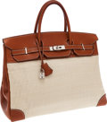Luxury Accessories:Bags, Hermes 40cm Natural Barenia Leather & Crinoline Birkin Bag withPalladium Hardware. ...