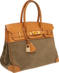 Luxury Accessories:Bags, Hermes 30cm Vache Naturelle & Khaki Canvas Birkin Bag with GoldHardware. ...