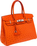 Luxury Accessories:Bags, Hermes 30cm Tangerine Ostrich Birkin Bag with Palladium Hardware....