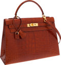 Luxury Accessories:Bags, Hermes 32cm Shiny Etrusque Alligator Sellier Kelly Bag with Gold Hardware. ...