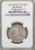 Seated Half Dollars, 1853 50C Arrows and Rays -- Improperly Cleaned -- NGC Details. Unc.NGC Census: (4/389). PCGS Population (8/349). Mintage: ...