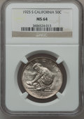 Commemorative Silver: , 1925-S 50C California MS64 NGC. NGC Census: (1459/1471). PCGSPopulation (1513/1138). Mintage: 86,394. Numismedia Wsl. Pric...