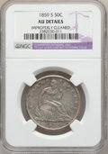 Seated Half Dollars: , 1859-S 50C -- Improperly Cleaned -- NGC Details. AU. NGC Census:(1/49). PCGS Population (9/52). Mintage: 566,000. Numismed...
