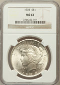 Peace Dollars: , 1925 $1 MS63 NGC. NGC Census: (10015/32407). PCGS Population(10270/25388). Mintage: 10,198,000. Numismedia Wsl. Price for ...